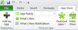 App Store in Microsoft Excel ribbon